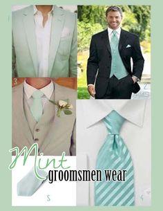Grey tux and mint green tie. Mint Groomsmen, Groom And Groomsmen Suits, Groom Wear, Groom Attire, Mint Green Bridesmaid Dresses, Black Bridesmaids, Wedding Ties, Wedding Groom, Wedding Stuff