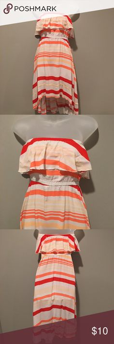 American Rag Strapless Dress Size S American Rag Strapless Dress Size S GUC - please note marks on back of dress as shown in pictures.  Color is red and coral multi stripe. American Rag Dresses Strapless