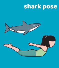 The fierce shark can swim for miles. Will you try this pose and see if you can stay in it for 5 breaths? Breathe in and out and feel strong as a shark!
