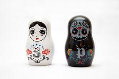 I want this too!  -  Russian Doll / Matryoshka Ceramic Salt & Pepper Shakers. $30.00, via Etsy.