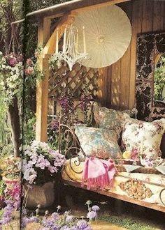 Bohemian rhapsody #garden #boho #shabbychic pretty garden spot cozy hideaway