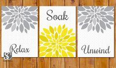 Yellow Grey Bathroom Spa Wall Decor Flower Burst by scadesigns, $15.00