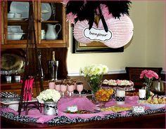 Bunco-Food-Table-Parisian Theme  brie cheese fondue-cream puff pastry's- yogurt parfaits-spinach quiche