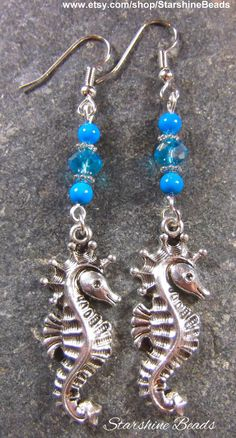 Silver Seahorse Earrings by Starshine Beads on Etsy.