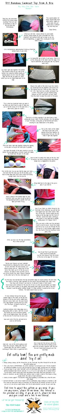 DIY swimsuit top made from a bra. My tutorial! Save image and zoom in!