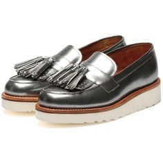 Grenson Clara Silver Crackle Calf Loafer Silver ❤ liked on Polyvore featuring shoes, loafers, silver shoes, lightweight shoes, wedges shoes, silver loafers and grenson shoes