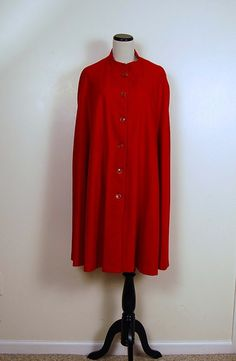 Red Wool Cape 1970s by CheekyVintageCloset on Etsy, $62.00