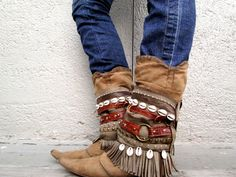 Aunty Entity  Tribal Boot cuffs by LotusRootsCreations on Etsy, $160.00