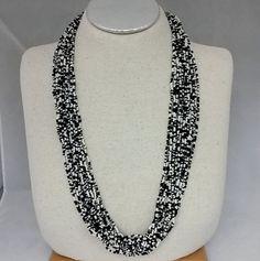 """Vtg 1980s Ethnic Tribal Black White Seed Bead Torsade Multi Strand 31"""" Necklace  #NotSigned #Torsade"""