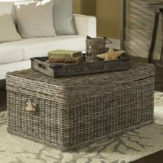 Shore Woven Rattan Coffee Table Grey Love This Trunk For