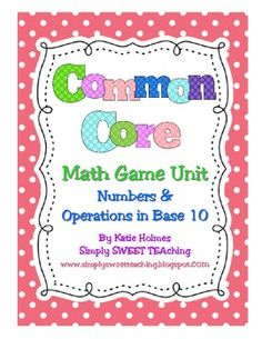 "Common Core First Grade. Math tubs for standards in ""Numbers and Operations in Base 10"""