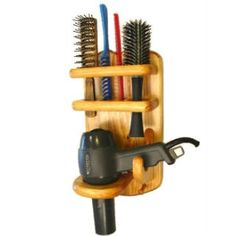 Item #701 Hair Dryer, Brush, Comb Holder From Twin Mountain Collections.  Handy