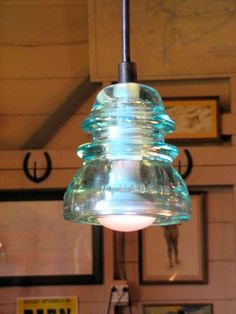 How cool is this light made from an old glass insulator?