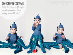 DIY Octopus Costume. (Love this for adult too. Maybe even couples costume with guy dressed like a ship captain. Easy/cheap with a yellow slicker/hat and old weathered face make-up)