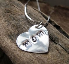 Sterling Silver Personalized Heart  Hand Stamped  by NadinArtGlass, $7.20
