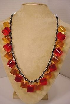 c5edca8a0f50 Vintage Celluloid Chain PRYSTAL Bakelite WOW Necklace Red Yellow CHUNKS