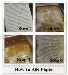 This is an excellent way to quickly stain & dry aged paper - uses Worcestershire sauce. Tip- we laid wax paper down in pan & placed stained pages on top to keep them from sticking while drying in the oven. {tutorial}