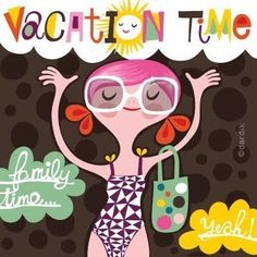 vacation time by helen dardik. I Love The Beach, Summer Of Love, Summer Fun, Summer Time, Frases Relax, Helen Dardik, Unique Toys, Children's Book Illustration, Happy Day