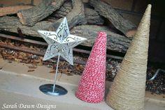 Sarah Dawn Designs: Christmas Tree Crafts with twine and yarn. :)
