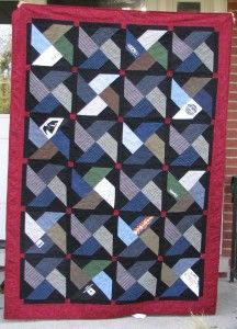 Memorial clothes quilt made from men's clothing