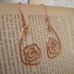 Twisted Copper Earrings by SandmanMetals on Etsy