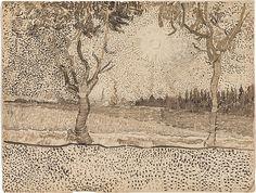 Vincent van Gogh (Dutch, 1853-1890), La route de Tarascon, 1888. Reed pen and ink over graphite on wove paper, 24.3 x 31.9 cm.
