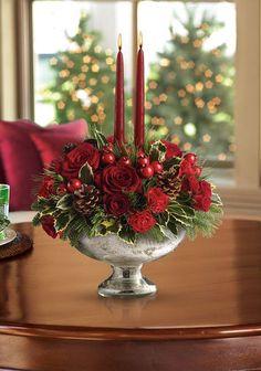 Kerststukje met rozen
