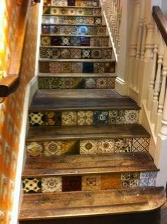 Amazing tiled stairs @ Home Improvement Ideas                                                                                                                                                      More