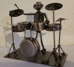 Antique Drum Player Metal Nuts and Bolts Musician Figure Music Art Decor