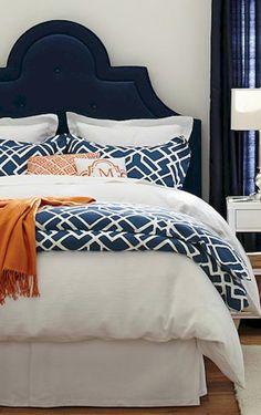 geometric duvet cover and shams Bedroom Ideas Navy Master Bedroom, White Bedroom Design, Bedroom Orange, Master Suite, Blue Headboard, Velvet Headboard, Wood Headboard, Guest Bedrooms, Guest Room