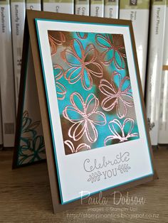 handmade card fromPaula Dobson - Stampinantics. Copper Embossing over sponged colour ... shades of copper ... luv this color combo ...