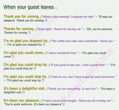 Phrases - When your guest leaves.