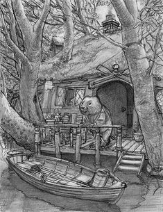 'Ratty's House' watercolour and gouache 24 x This little 'The Wind in the Willows' illustration was completed Thursday - as hot o. Beatrix Potter Illustrations, Illustrations Posters, Chris Dunn, Mushroom Pictures, Animal Books, Children's Book Illustration, Illustration Styles, Cute Drawings, Pencil Drawings