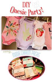 "Moda... the Cutting Table: A ""Charm""ing Baby Shower- tutorial for onezies use iron on fabric"