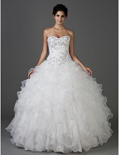Ball Gown Sweetheart Strapless Floor-length Taffeta And Organza Wedding Dress - USD $ 283.49