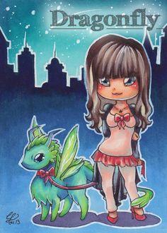 """#36 """"That's me""""  Illustration, Copic Art, Comic, Manga, ACEO Card / Kakao-Karte by Dragonfly Artworks"""