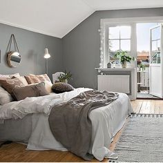 Scandinavian Bedroom, Cozy Bedroom, Master Bedroom, Bedroom Decor, Bedroom Ideas, Interior Garden, Interior Design, Bedroom Layouts, White Houses
