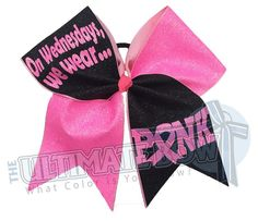 15 Of Set Pink White Glitter Breast Cancer Awareness All Star Cheer Bow