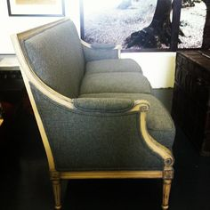 Antique French sofa w/ new grey wool upholstery