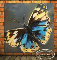 OP971 Modern Abstract Oil Painting on canvas wall decor Butterfly (NO Frame) #ArtDeco