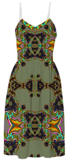 Green Brown Abstract Pattern Summer Dress from Print All Over Me