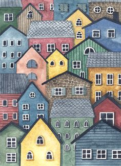 Просмотреть иллюстрацию Домики из сообщества русскоязычных художников автора Мария Алексеева в стилях: Живопись, нарисованная техниками: Акварель.