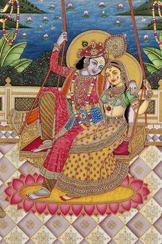 Krishna Painting, Madhubani Painting, Radha Krishna Pictures, Krishna Images, Señor Krishna, Lord Krishna, Shiva, Indian Traditional Paintings, Pichwai Paintings