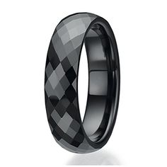 6mm Faceted design Black Ceramic Ring Sizes 9 to 13 * Want additional info? Click on the image.