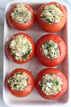 Quinoa and Goat Cheese Stuffed Tomatoes from Inquiring Chef