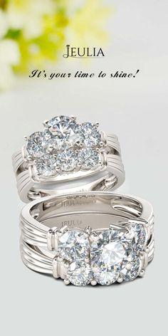 Three Stone Rose Gold Tone Princess Cut Created White Sapphire Wedding Set