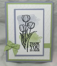 A CAS card featuring Blessed Easter, Happy Watercolor, Lots of Thanks, and Fancy Fan embossing folder. All supplies from Stampin' Up!