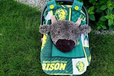 North Dakota Bison NDSU Fitted Car Seat Canopy With Peek-A--Boo Opening Fleece And Minky by lindasnd on Etsy Baby Carrier Cover, Packers Baby, Fabric Combinations, Baby Must Haves, Fit Car, Cute Cars, Soft Shorts, Minky Fabric, Bison