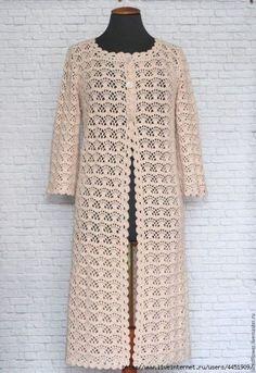 Buy or order Summer lace coat Co . - All Photos Gilet Crochet, Crochet Coat, Crochet Jacket, Crochet Cardigan, Crochet Clothes, Crochet Patron, Coat Patterns, Jacket Pattern, Crochet Patterns