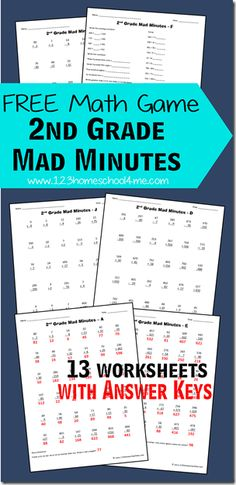 FREE Grade Math Worksheets - free printable worksheets to use alone or as Mad Minutes are a fun math game to help kids practice addition, subtraction, word problems, and so much more. Includes 13 grade math worksheets with answer key. 2nd Grade Classroom, Math Classroom, Math For Kids, Fun Math, Math Help, Math Resources, Math Activities, 2nd Grade Math Worksheets, 2nd Grade Math Games